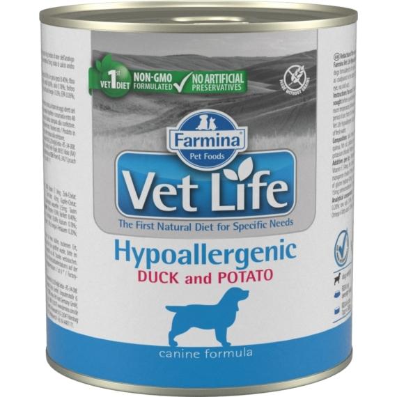 VET LIFE NATURAL DIET DOG KONZERV HYPOALLERGENIC DUCK&POTATO 300G