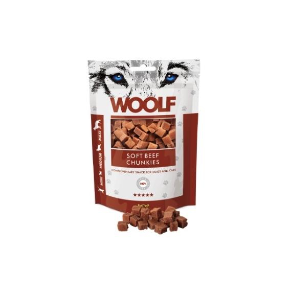Woolf Beef Chunkies tréning snack jutalomfalat marhahús kockák 100g