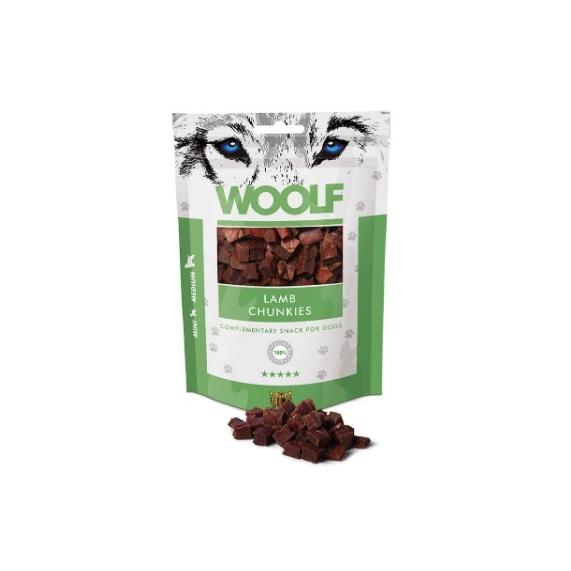Woolf Lamb Chunkies tréning snack jutalomfalat bárányhús kockák 100g