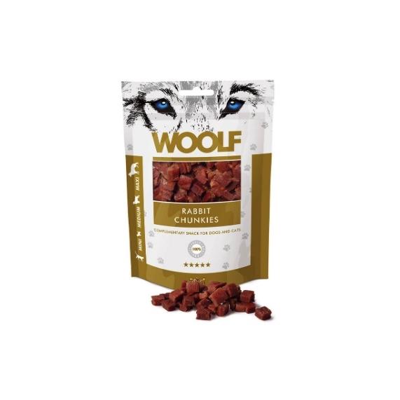 Woolf Rabbit Chunkies tréning snack jutalomfalat nyúlhús kockák 100g