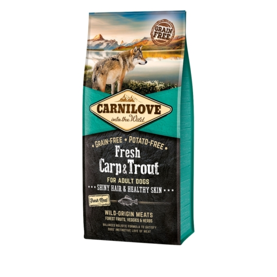 CARNILOVE FRESH ADULT DOG CARP & TROUT HAIR & HEALTHY SKIN- PONTY & PISZTRÁNG HÚSSAL 12KG