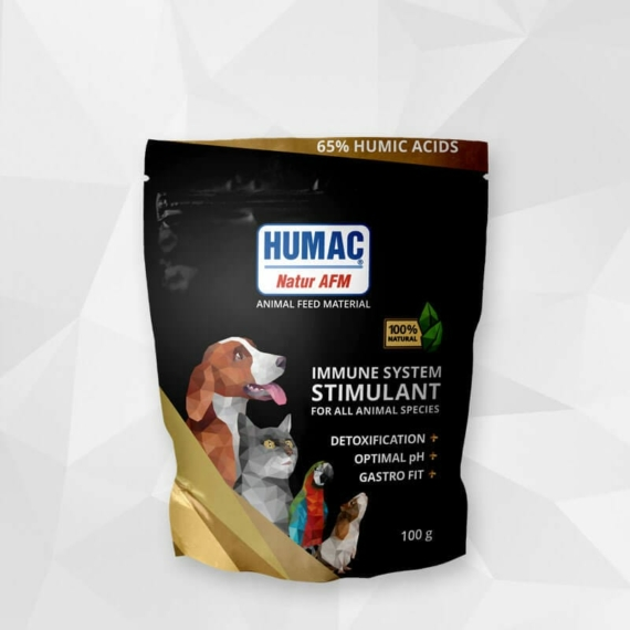 HUMAC® Natur AFM 100g (tasak) Eledel kiegészítő aktivált huminsavval – minden háziállatnak